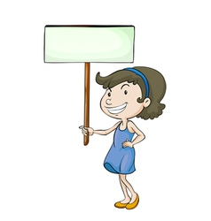 a girl with sign board vector image vector image