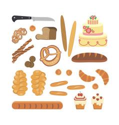 bakery foodstuffs set vector image