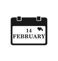 Valentine calendar icon in black color vector image vector image