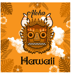 aloha hawaii tiki mask leaves background im vector image