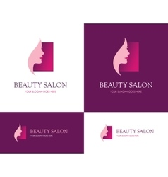 Beauty salon square logo vector image