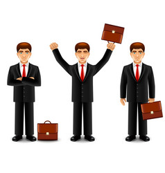 Businessman in suit with case isolated vector