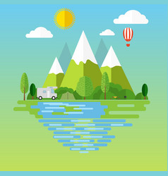 campsite place in mountain vector image vector image