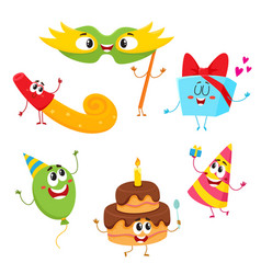 cute and funny birthday item characters with vector image