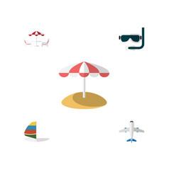 flat icon beach set of parasol scuba diving vector image