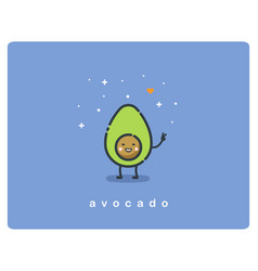 flat icon of avocado cute cartoon character vector image