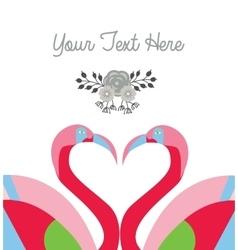 love card template two flamingo make heart shape vector image vector image