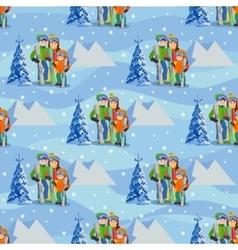 Man woman boy skiing in snow mountain family vector