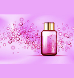 pink bubbles bottle on silk background vector image