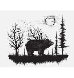 abstract bear in strange forest vector image