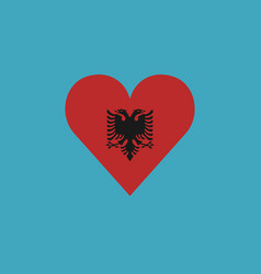 Albania flag icon in a heart shape in flat design vector