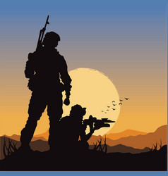 army soldiers on battle field vector image