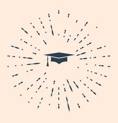 Black graduation cap icon isolated on beige vector