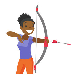 black sportswoman holding bow and arrow vector image