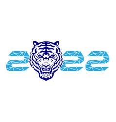 blue tiger symbol new year 2022 vector image