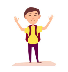 Boy with rucksack raise hands up vector