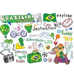 Brazilian travel doodles vector