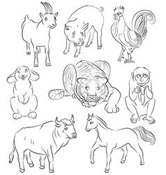 Bull cock goat horse monkey pig rabbit tiger vector image