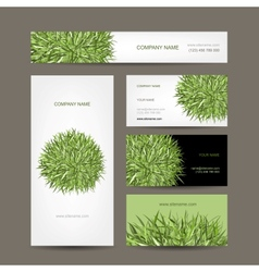 Business cards collection green meadow design vector