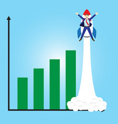 businessman launching beyond bar graphs by rocket vector image