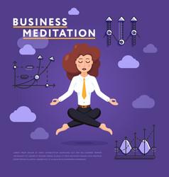 Businesswoman in meditation pose on work vector
