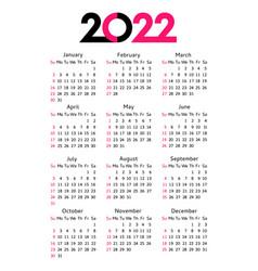 Calendar 2022 year editable template vector