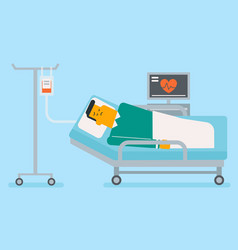Caucasian white man lying in hospital bed vector