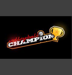 champion volleyball logo modern professional vector image