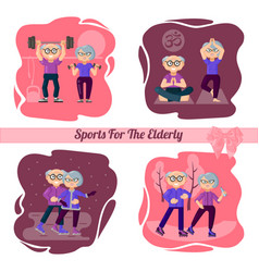 character set active older people are engaged in vector image