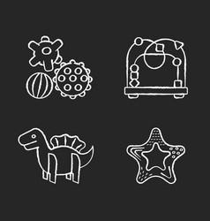 children sensory toys chalk white icons set vector image