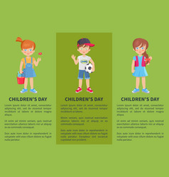 Childrens day web banner with playful boy and girl vector