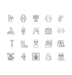 Chiropractor line icons signs set vector