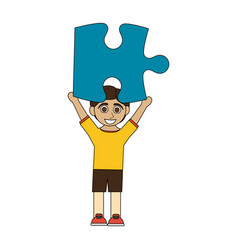 Colorful caricature boy with blue puzzle piece up vector