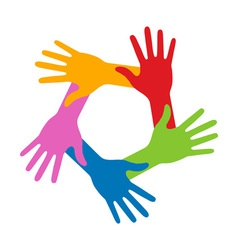 Colorful Five Hands Icon for your design vector