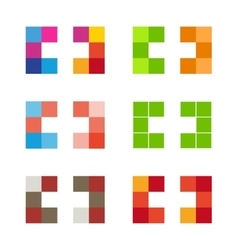 Colorful isolated mosaic cross logo set Tile vector