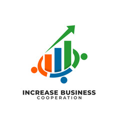 Cooperation increases business partner logo vector