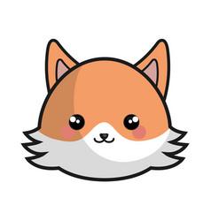 cute fox kawaii style vector image