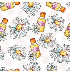Daisy flower seamless pattern spa cosmetics vector