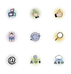Data protection icons set pop-art style vector