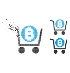 Decomposed dotted halftone bitcoin shopping cart vector