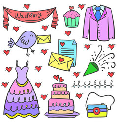 doodle of wedding element set vector image