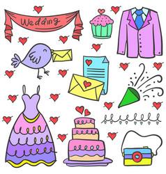 Doodle of wedding element set vector