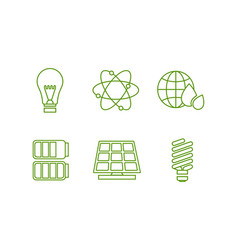 ecology and energy saving line icons set green vector image