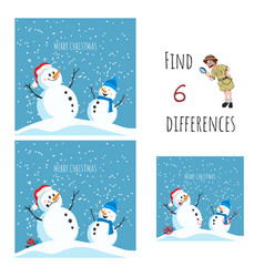 find 6 differences educational game for children vector image