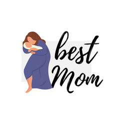 Flat banner best mom woman in blue vector