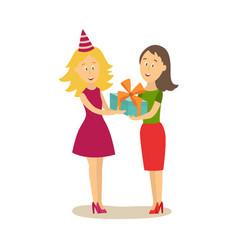 Flat girl giving present box to woman vector