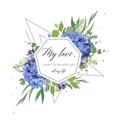 Floral print with blue hydrangea elegant bouquet vector
