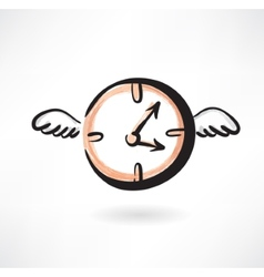 Flying clocks grunge icon vector image