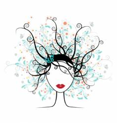 girl face floral hairstyle vector image
