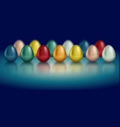 glossy metallic egg set golden silver blue red vector image